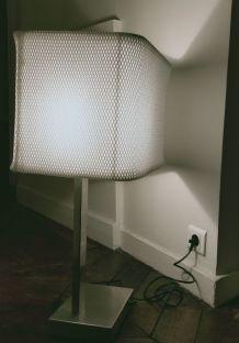 Lampe de bureau années 60 en alu brossé et tissu d'éditeur
