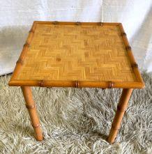 Table basse bois et tressage – années 60