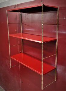Etagere metal string( tomado) 1950 a 1960  or et rouge vif,