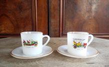 Ensemble de 6 tasses et 6 soucoupes Arcopal - Vieux tacots