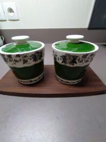 Set 2 pots à confiture en porcelaine vert décor lierre