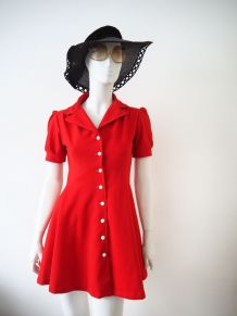 Mini robe babydoll Mod Swinging London rouge vif vintage 60s