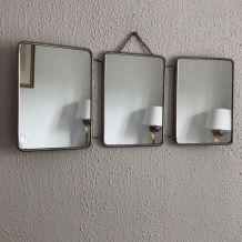 Miroir triptyque vintage 1960 barbier - 21 x 50 cm