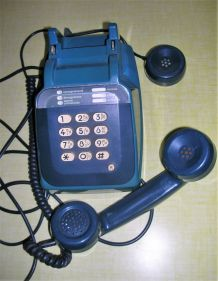 TELEPHONE VINTAGE bleu à touches 1987 Socotel S63