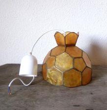 Suspension/lustre en nacre et en laiton