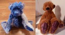 Deux ours d'artiste en mohair, fait main, Pièces uniques