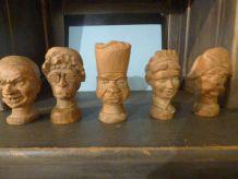 5 têtes bois pour Marionnettes enfant