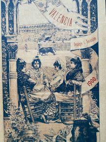 Exceptionnelle Affiche ancienne Corrida 1900 Valencia