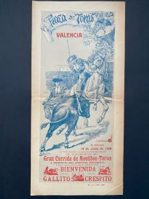 Exceptionnelle Affiche ancienne Corrida 1905 Valencia