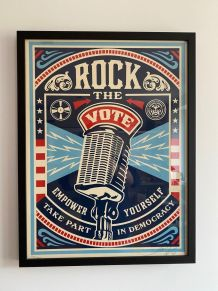 "Rare Lithographie ""Rock the vote"" 2008 par Shepard Fairey"