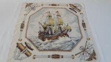 Foulard soie vintage style marin motif voilier