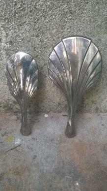 Set  miroir + brosse Art Deco en metal argenté