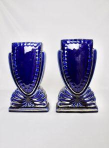 Paire de vases bleus en Faïence
