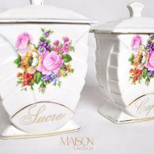 Service à épices fleuris  en porcelaine complet