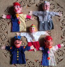 5 marionnettes à main - vintage
