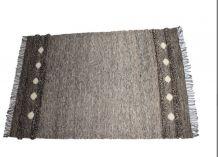 Tapis kilim fait main en laine couleur taupe marron
