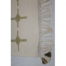 Tapis kilim fait main en coton blanc crème