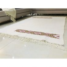 Tapis kilim fait main en soie couleur blanc crème