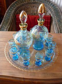 rare service à liqueur Napoléon III émaillé Legras