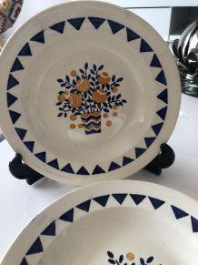 6 assiettes plates en faïence de LONGWY modèle NEUILLY