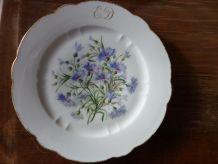 lot de 4 assiettes porcelaine fine décor de fleurs