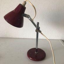 Lampe vintage 1960 bureau bourgogne - 26 cm