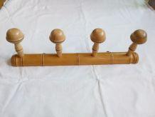 Porte manteau mural à 4 patères en bois tourné façon bambou