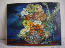 Tableau ancien, composition florale