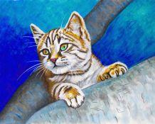 Chat dans un arbre. Peinture originale technique mixte.