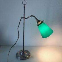 Lampe vintage 1930 bijoutier bureau atelier laiton nickelé
