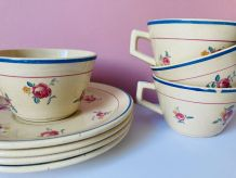 Lot 4 tasses à thé  à fleurs Salins granit france - retro