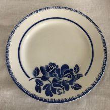 6 assiettes plates, vaisselle ancienne, Badonviller