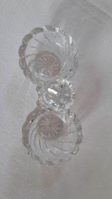 Salière poivrière vintage bulles verre taillé