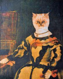 Portrait de chat réalisé numériquement d'après Vélasquez