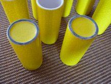 service à orangeade en grès vernissé craquelé jaune vif