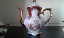 Service a moka en porcelaine italienne. Cafetière,  sucrier,
