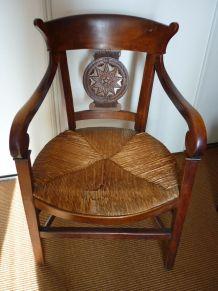fauteuil à crosse 19ième Charles X Louis Philippe paillé