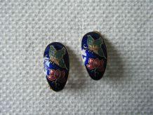Boucles d'oreille à clips Emaux  bleu Vintage 80'S