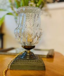 Lampe sur pied bronze & verre vintage