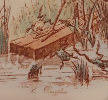 Ancienne assiette Dreyfus fable J. de La Fontaine