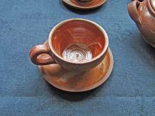 6 Tasses à café Soucoupes Sucrier en Grès Vernissé Vintage