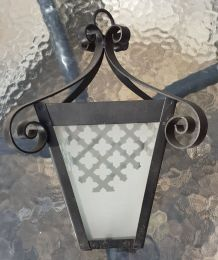 Ancienne lanterne verre et fer forgé