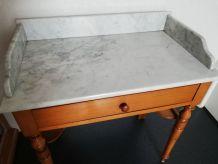 table de toilette ancienne en pin et plateau en marbre un ti