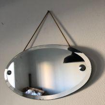 Miroir vintage 1930 biseauté ovale - 55 x 30 cm