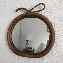 Miroir vintage 1960 pomme rotin osier - 30 x 31 cm