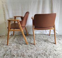 Paire de fauteuils de style scandinave pieds compas – années