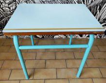 Pupitre formica bleu bureau écolier vintage années 60
