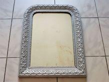 Miroir ancien Louis-Philippe, miroir vintage bois et stuc.