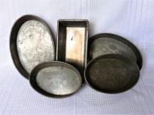 Anciens moules à gâteaux métal, moules à pâtisserie métal.