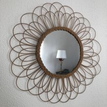 Grand vintage 1960 miroir soleil fleur rotin - 67 cm